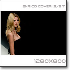 Click to download this wallpaper Enrico Coveri  S/S '11 model Alexandra Tretter